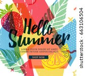design banner for summer season.... | Shutterstock .eps vector #663106504