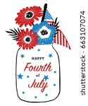 fourth of july card design   Shutterstock .eps vector #663107074