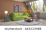 interior living room. 3d... | Shutterstock . vector #663113488