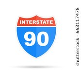 interstate highway 90 road sign | Shutterstock .eps vector #663117478