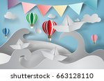 paper art of origami made... | Shutterstock .eps vector #663128110