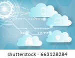 paper art of icon web cloud... | Shutterstock .eps vector #663128284