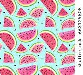 watermelon fresh sliced pattern ... | Shutterstock .eps vector #663129808