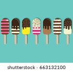 colorful popsicle ice cream....   Shutterstock .eps vector #663132100