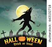 halloween silhouette werewolf... | Shutterstock .eps vector #663132718
