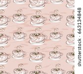 cup of cappuccino seamless... | Shutterstock .eps vector #663134848