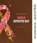 hepatitis awareness ribbon... | Shutterstock .eps vector #663137830