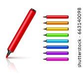 marker pens  red  green  yellow ... | Shutterstock .eps vector #663140098