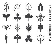 leaf icons set. vector... | Shutterstock .eps vector #663140434
