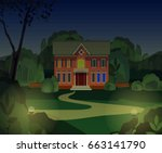 evening country house   Shutterstock .eps vector #663141790