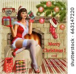 christmas pin up girl with gift ... | Shutterstock . vector #663147220
