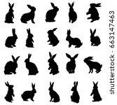rabbit silhouette  vector ... | Shutterstock .eps vector #663147463