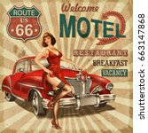 motel route 66 vintage poster | Shutterstock . vector #663147868