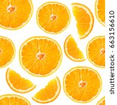 orange seamless pattern. fruit. ... | Shutterstock . vector #663156610