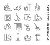 set of cleaning related vector... | Shutterstock .eps vector #663161659