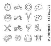 set of motor sport related... | Shutterstock .eps vector #663161773