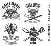 set of steak house labels and... | Shutterstock .eps vector #663162478