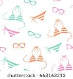 funny summer fashion pattern... | Shutterstock .eps vector #663163213