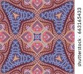 vector abstract ethnic hand... | Shutterstock .eps vector #663165433