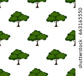 leaves of green trees seamless... | Shutterstock .eps vector #663165550