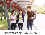 young students walking and... | Shutterstock . vector #663167638