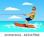 man riding waterski. extreme...   Shutterstock .eps vector #663167866