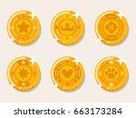gold coin set | Shutterstock .eps vector #663173284