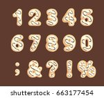 set of numbers and punctuation... | Shutterstock .eps vector #663177454