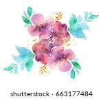 floral ornament  bouquet of... | Shutterstock . vector #663177484