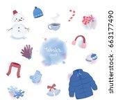 several cute stuff for winter.   Shutterstock .eps vector #663177490