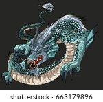 Hand Drawn Blue Dragon Vector...