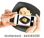 hand holding smart phone take a ... | Shutterstock . vector #663181030