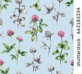 illustrations of clover flowers.... | Shutterstock . vector #663183334