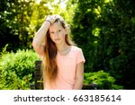 young teenage girl with long... | Shutterstock . vector #663185614