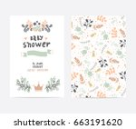 set of perfect vector card... | Shutterstock .eps vector #663191620
