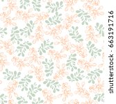 seamless pattern with twigs and ... | Shutterstock .eps vector #663191716