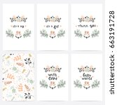 set of perfect vector card... | Shutterstock .eps vector #663191728