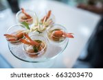 selective focus on spicy prawn... | Shutterstock . vector #663203470