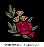 red flowers. roses. vintage... | Shutterstock .eps vector #663206614