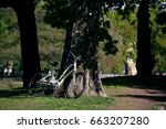Bicycle Leaning Against Tree I...