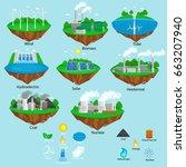 renewable ecology energy icons  ... | Shutterstock .eps vector #663207940