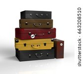 old suitcases on a white... | Shutterstock . vector #663208510