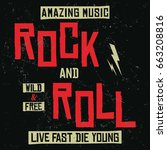 rock and roll amazing music... | Shutterstock .eps vector #663208816