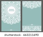 wedding invitation or card with ... | Shutterstock .eps vector #663211690