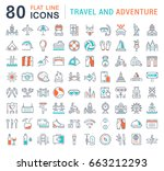 set vector line icons  sign and ... | Shutterstock .eps vector #663212293