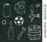 set of beer objects  can and...   Shutterstock .eps vector #663216130