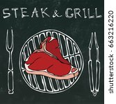 t bone steak on the grill for...   Shutterstock .eps vector #663216220