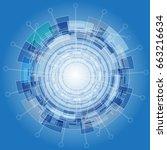 abstract digital technology... | Shutterstock .eps vector #663216634