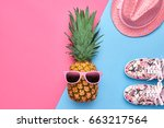 fashion hipster pineapple fruit.... | Shutterstock . vector #663217564