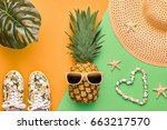 fashion pineapple. bright... | Shutterstock . vector #663217570